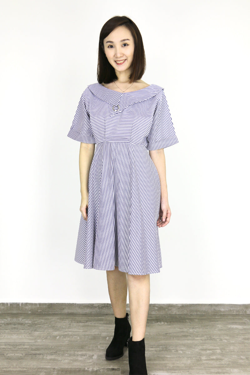 Ulliana Pinstripe Collar Dress