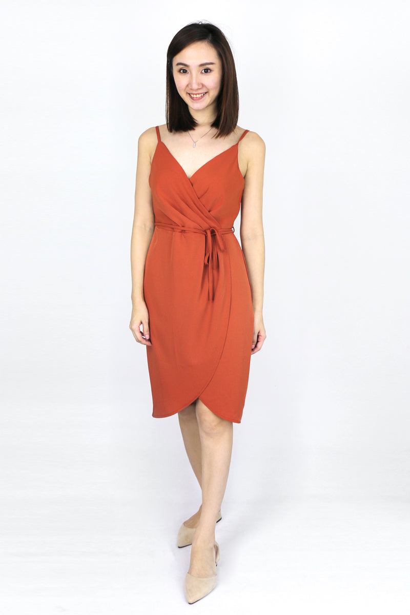 Denise Wrap Pleated Dress