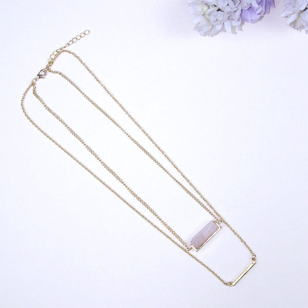 (Restocked) Gemstone Bar Necklace