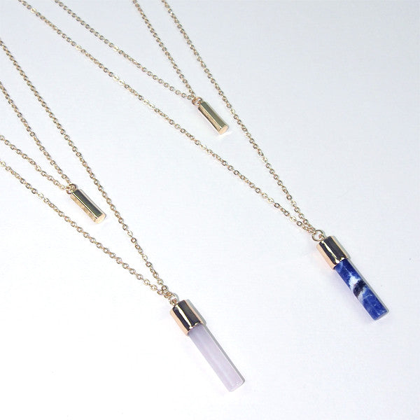 Gemstone Round Bar Necklace