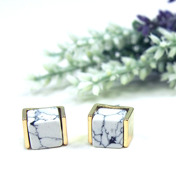 Marble Slab Cube Earrings