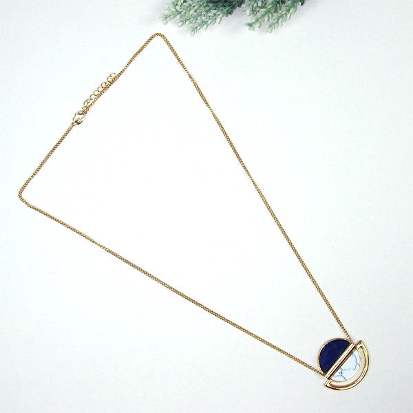 (Restocked) Marble Slab & Gemstone Necklace
