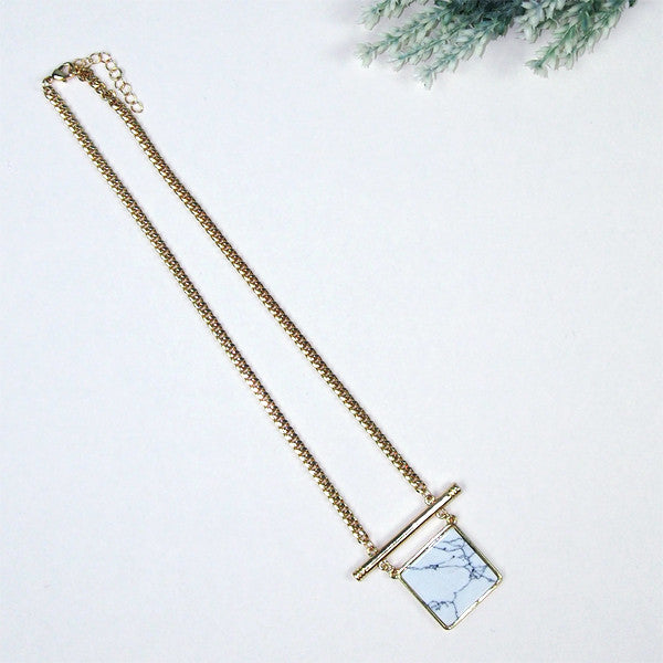 Marble Slab Square Necklace