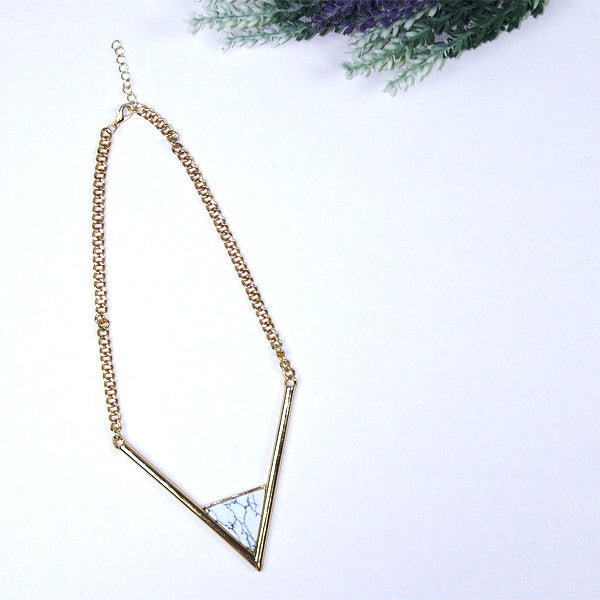 (Restocked) Marble Slab Triangle Necklace