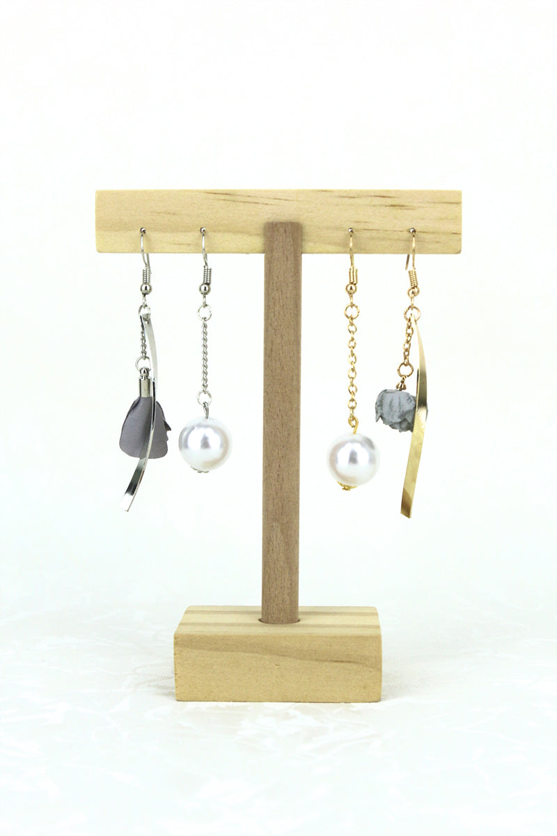 Pansy Pearl Asymmetrical Drop Earrings