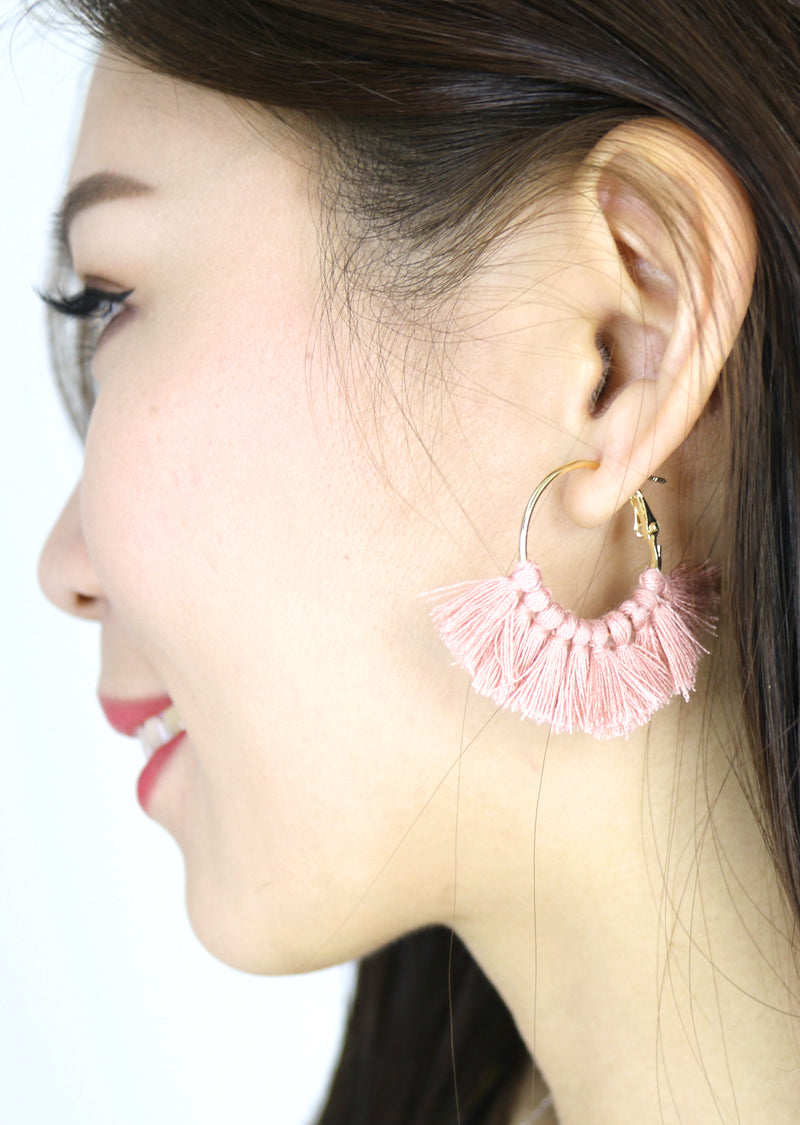 Freda Tassel Hoop Earrings