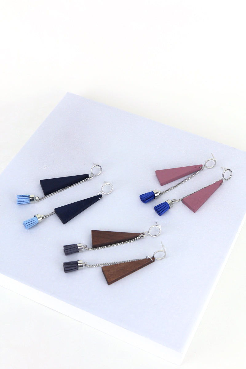 Patsy Geometric Tassel Drop Earrings