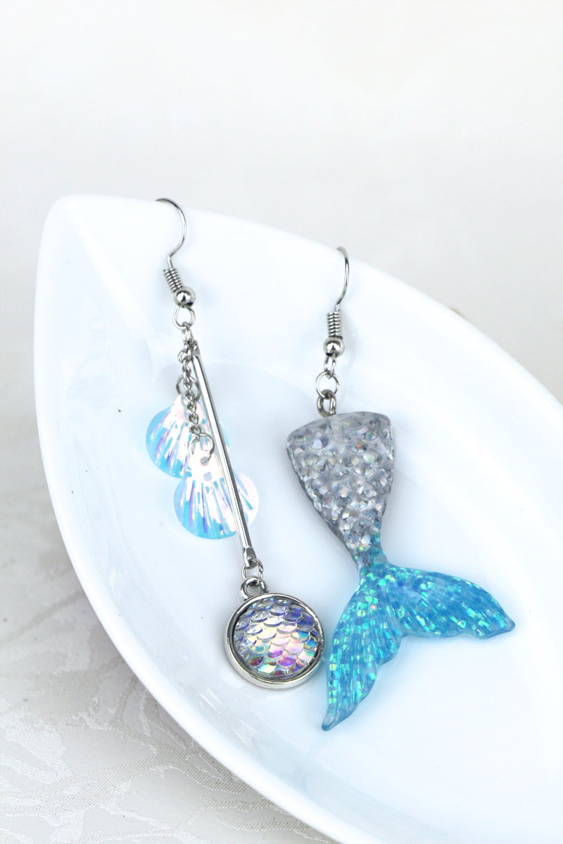 Athena Mermaid Asymmetrical Drop Earrings