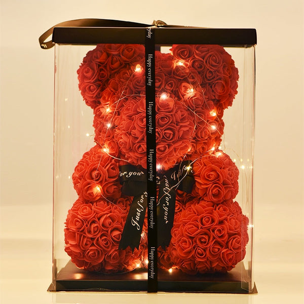Bear of Roses In LED Box Teddy Bear Rose Soap Foam Flower Artificial Wedding Gifts for Women Valentines Christmas