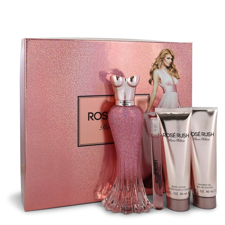 Paris Hilton Rose Rush by Paris Hilton Gift Set -- 3.4 oz Eau De Parfum Spray + .34 oz Mini EDP Spray + 3 oz Body Lotion + 3 oz Shower Gel