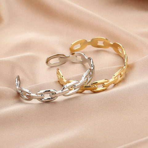 Hard chain bracelet - Gold & Silver