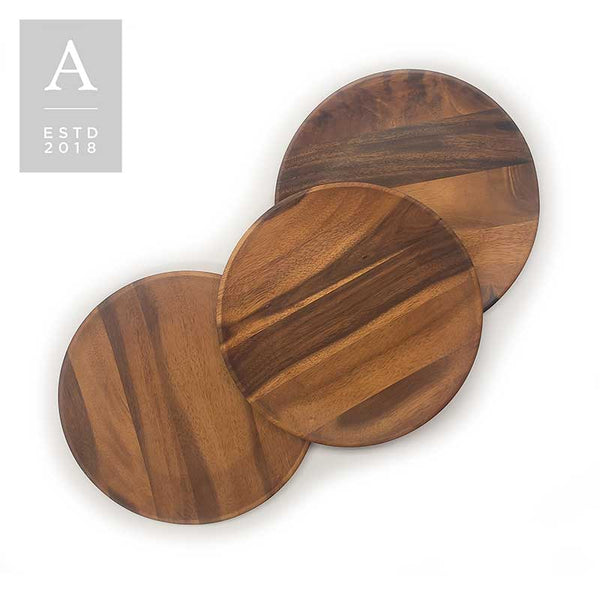 ARLO COUPE ACACIA WOOD CHARGER PLATE