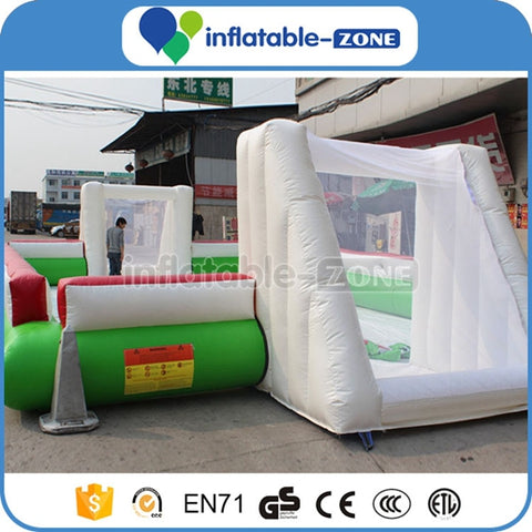 inflatable square football court,inflatable football court with giant goal and floor water pool,inflatable water soccer pitch