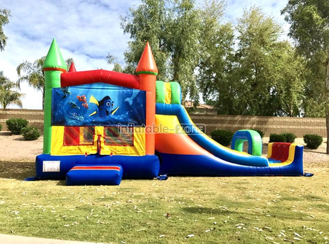 Come to platy inflatable bounce house with slide