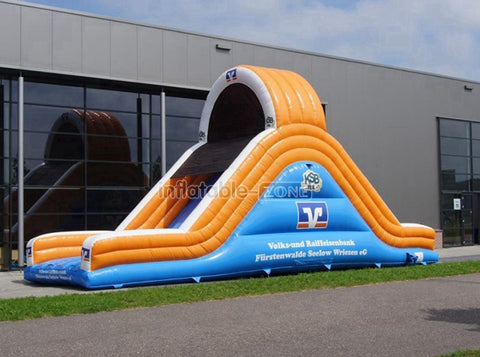 Custom made blue and orange small inflatable slide,cheap outdoor water slides for adult