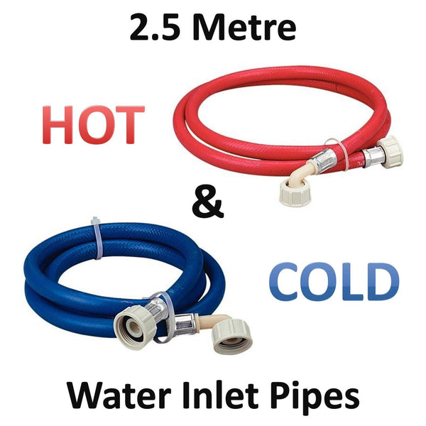 2.5m Long Washing Machine Hose Pipes Water Fill Hose 1 BLUE & 1 RED Cold + Hot