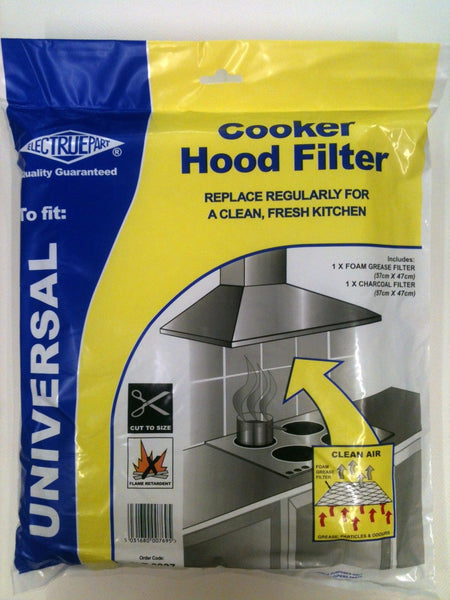 Universal Charcoal & Foam Grease Cooker Oven Hood Filter Cut To Size 57cm x 47cm