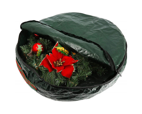 Large Christmas Door Natural Wreath Storage Bag With Handle Green - 61cm x 10cm