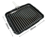 Heavy Duty Grill Pan & Rack With Handle 386 x 300mm for Kenwood Cooker Ovens