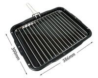 Universal Oven Cooker Grill Pan & Rack With Detachable Handle 386 x 300mm