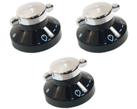 3 x Oven Gas Control Knobs Hob Cooker Switch Chrome Black Silver For Belling