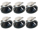 6 x Diplomat Oven Hob Black Silver Control Knob Switch 081880326