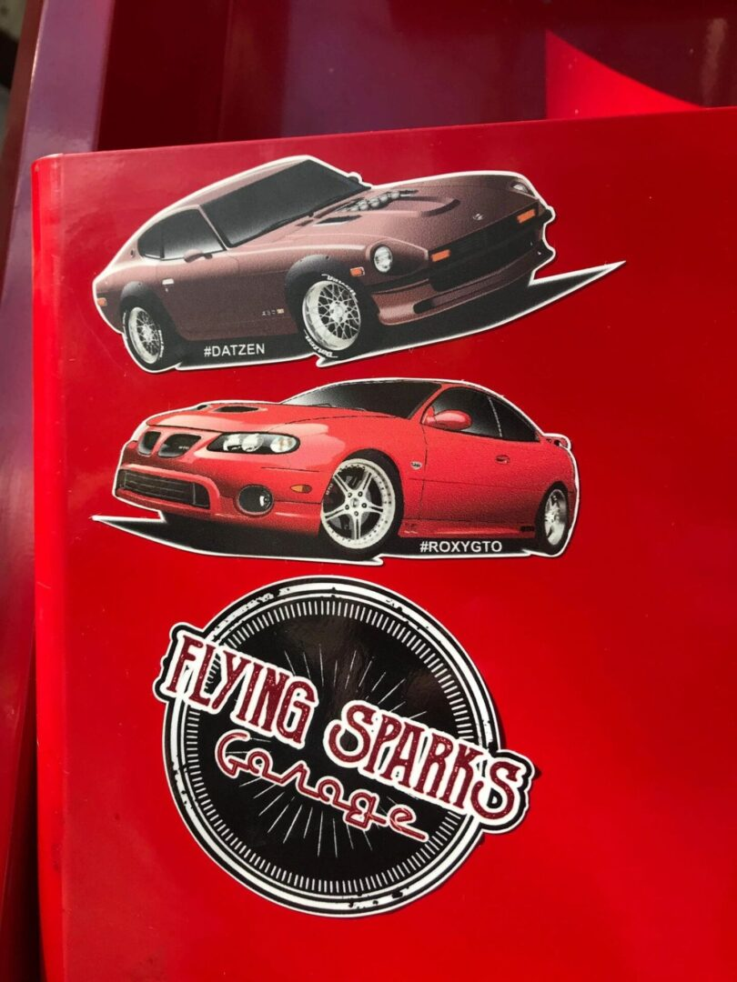 Flying Sparks Garage Sticker Pack