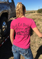 just get dirty garage girl tee, hot rod v-neck, garage girl v neck, womans hot rod tee, just get dirty garage