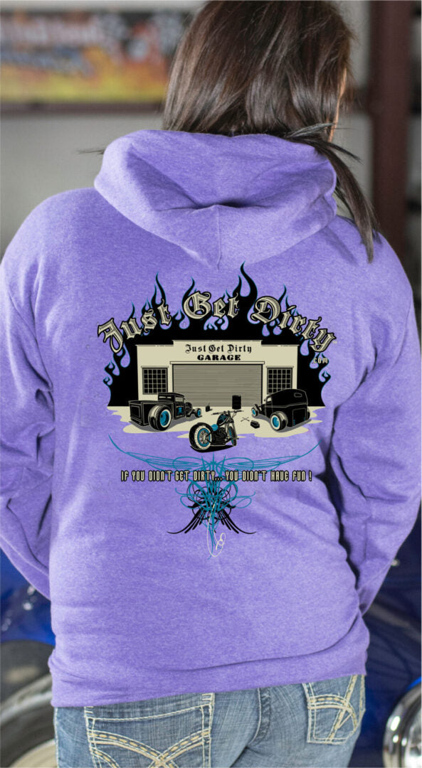 Just Get Dirty Rat Rod Hoodie, Purple