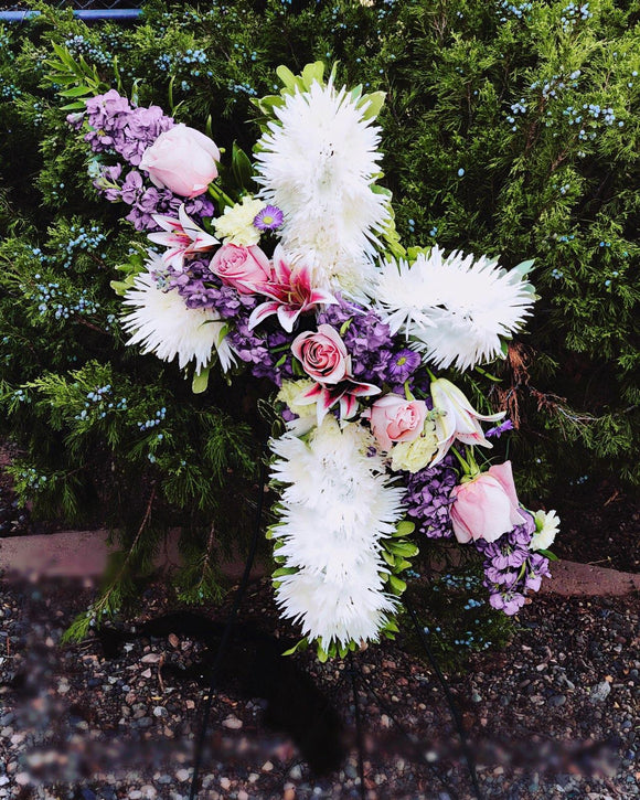 Hope and Remembrance Floral Cross Arrangement