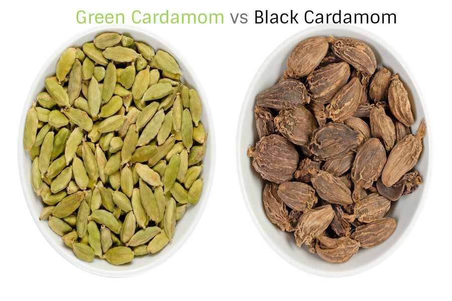 difference between black cardamom and green cardamom
