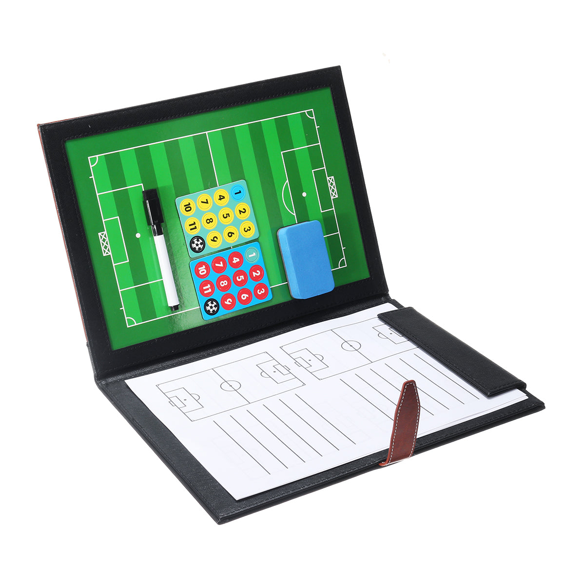Magnetic Leather Football Board Soccer Trainer Tactics NoteBook Folder