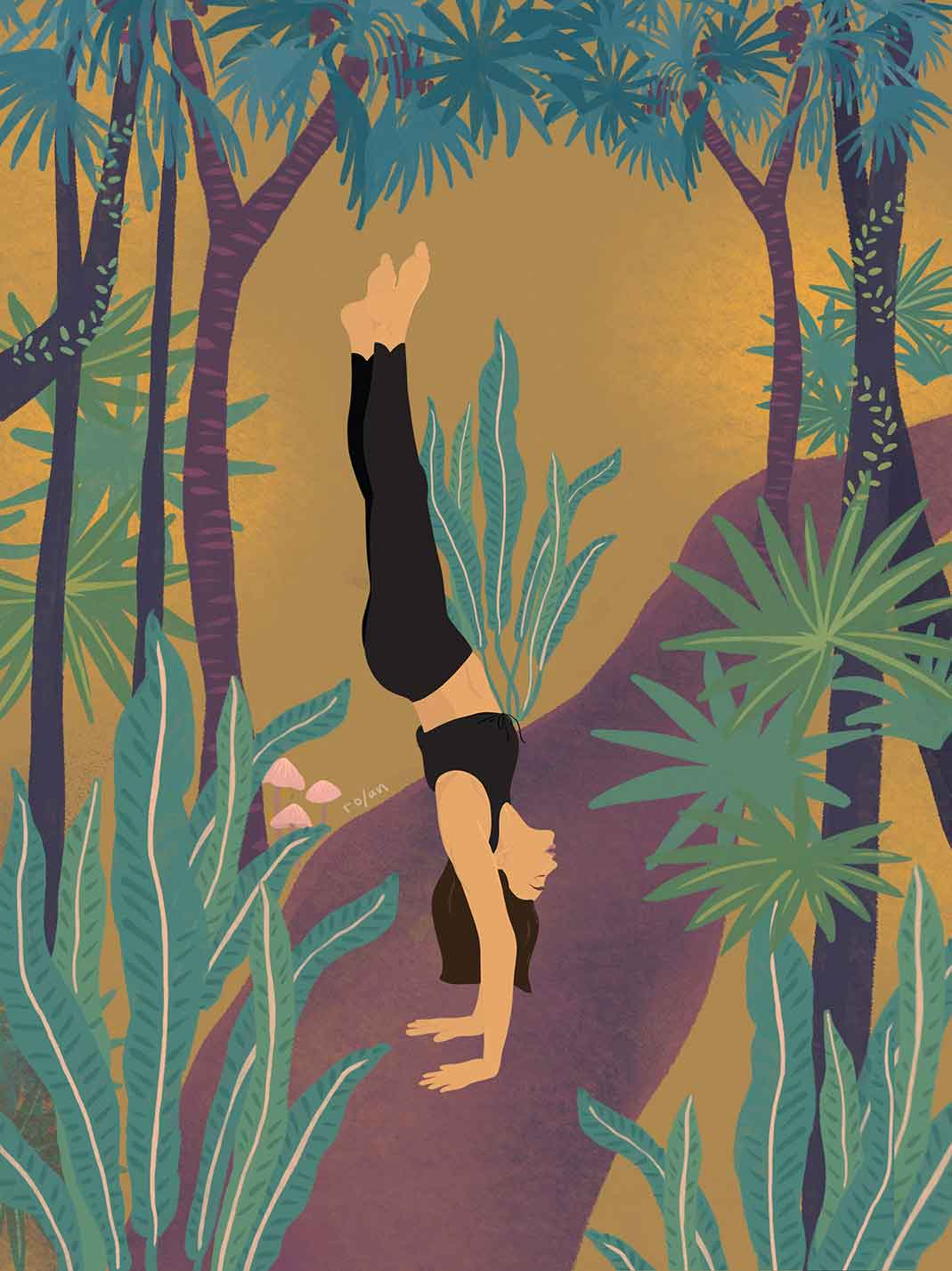 ro/an yoga illustration handstand in jungle
