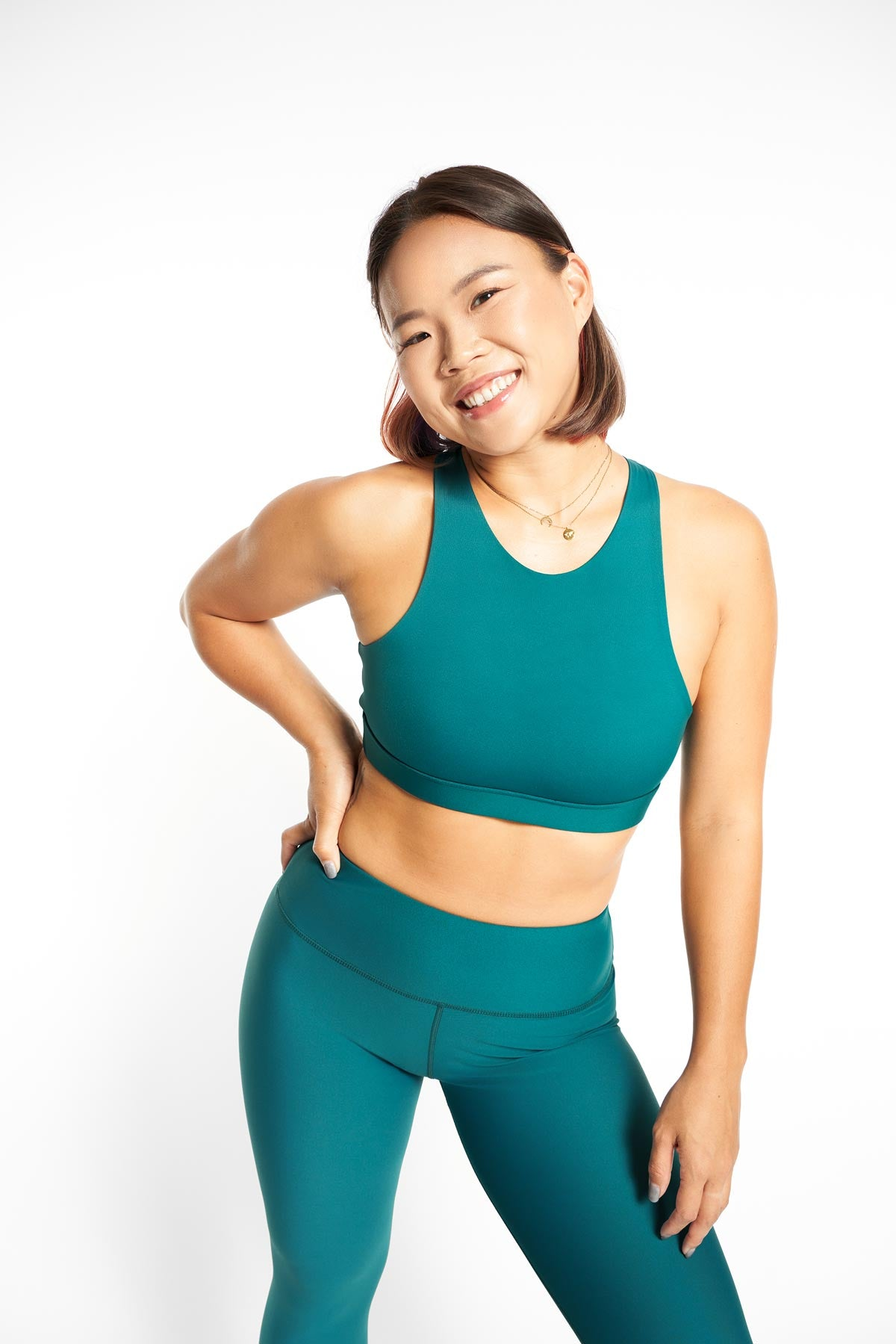 ro/an cacao teal bra front size m worn with matcha legging