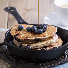 Blueberry Vegan Protein Pancakes infused with earl grey