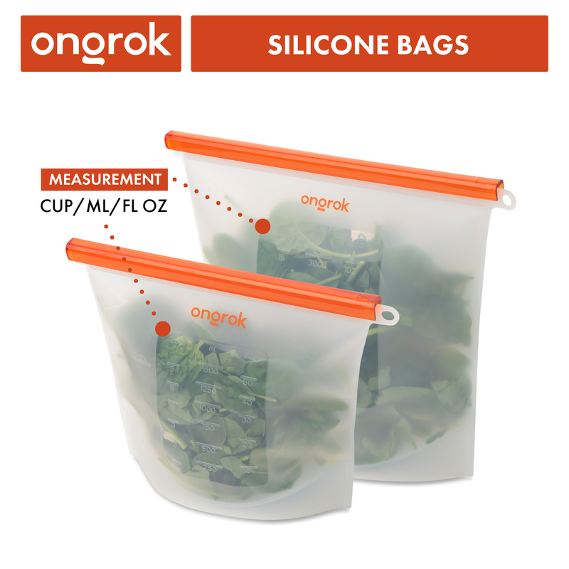 ONGROK Dishwasher Safe Silicone Storage Bags | 2 Pack