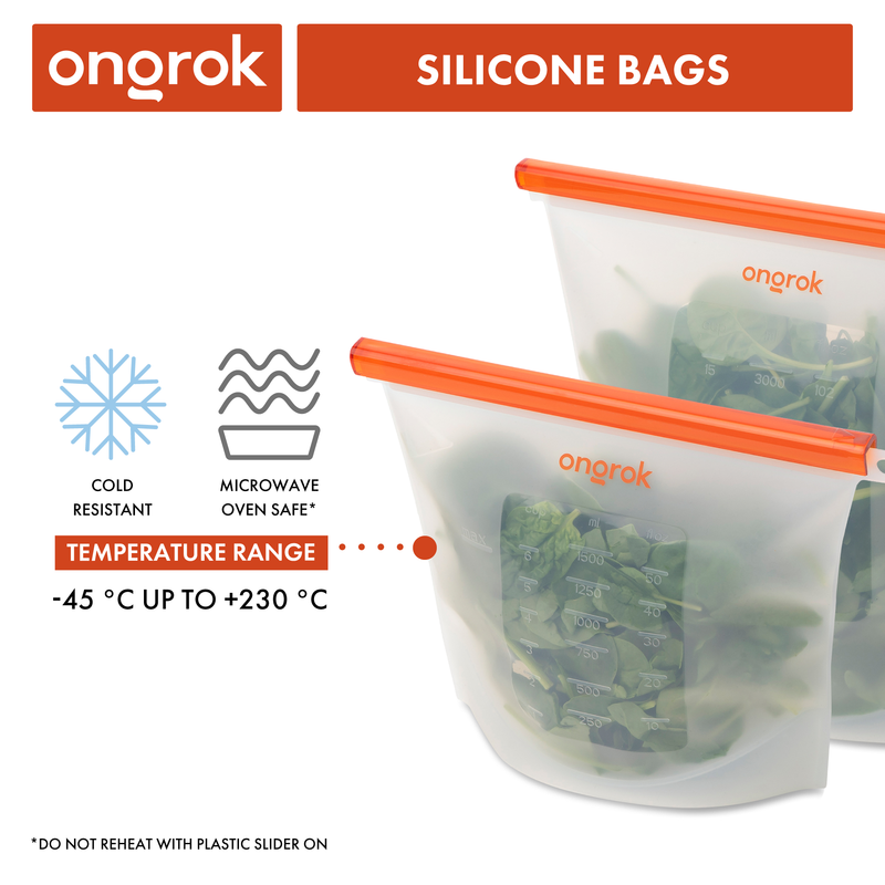 ONGROK Microwave and Oven Safe Silicone Storage Bags | 2 Pack