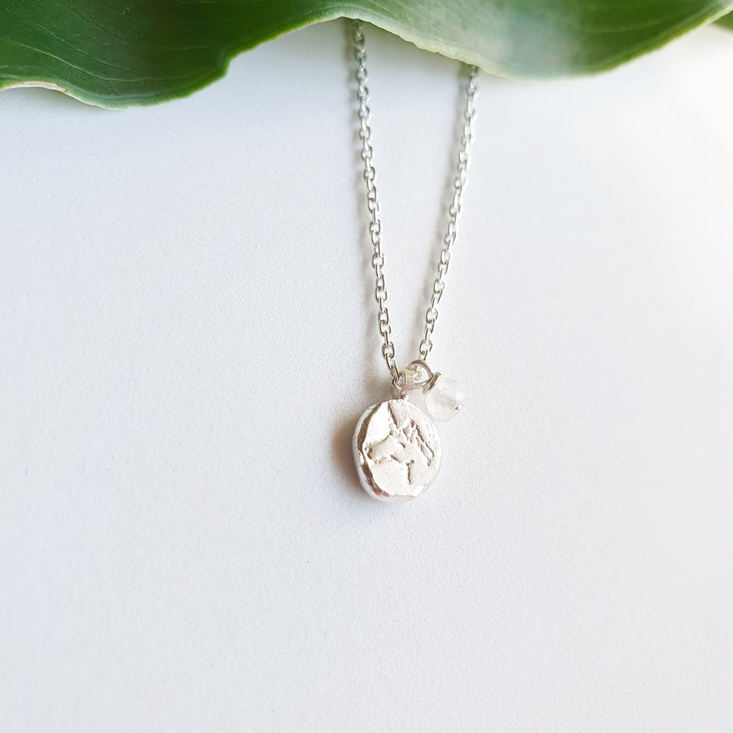 Pure Silver Unicorn with Rose Quartz Necklace