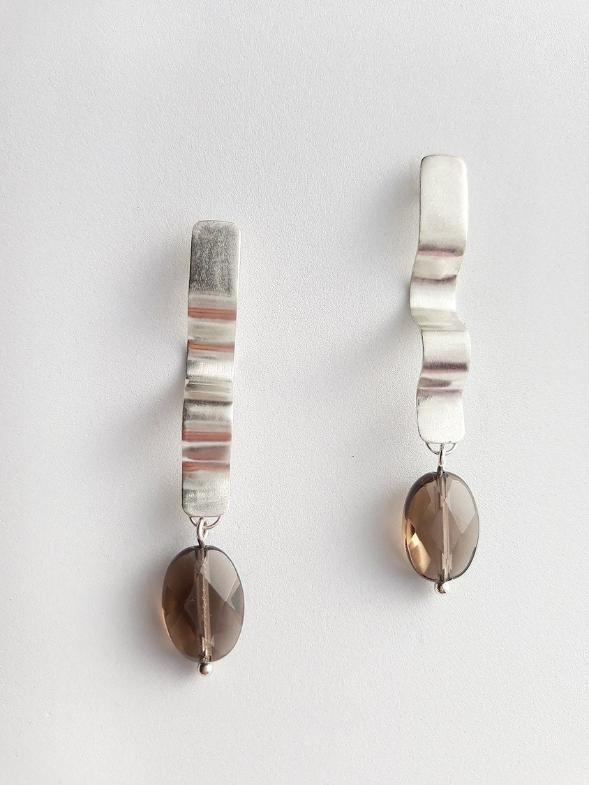 Riding the waves Smoky Quartz Earrings