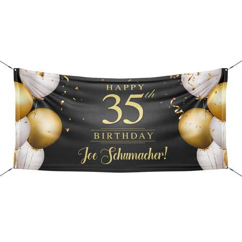 Black and gold birthday banner