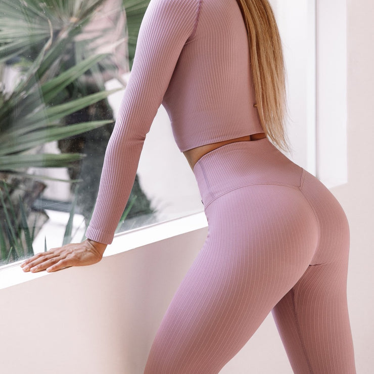 Seamless Ribbed Tights Blush