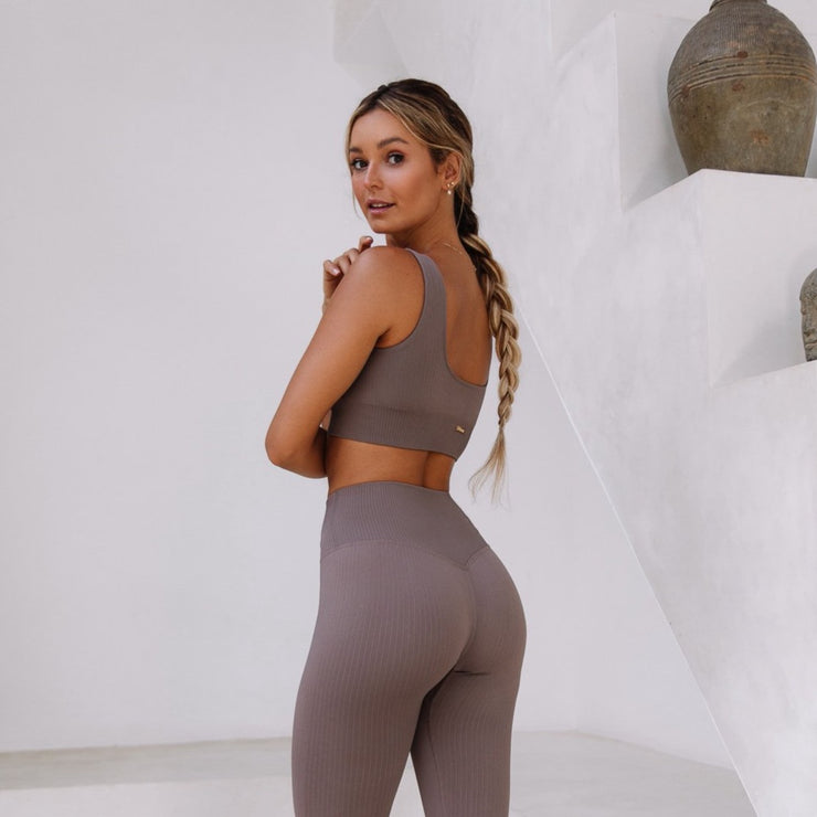 Ribbed Sports Bra Café Latte