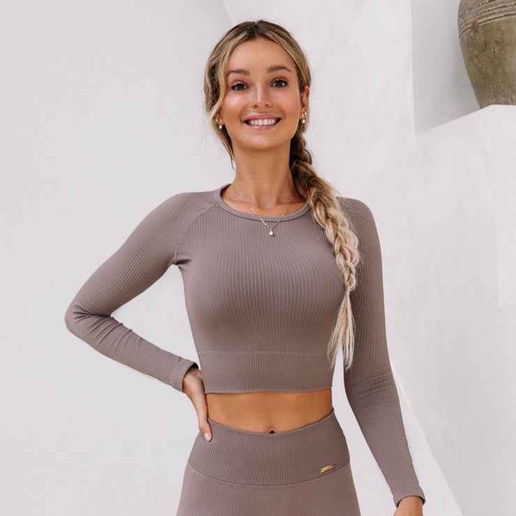 Ribbed Crop Top Long Sleeve Cafè Latte