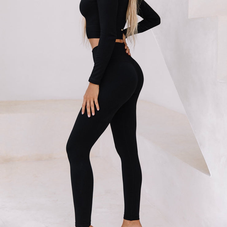 Seamless Ribbed Tights Black