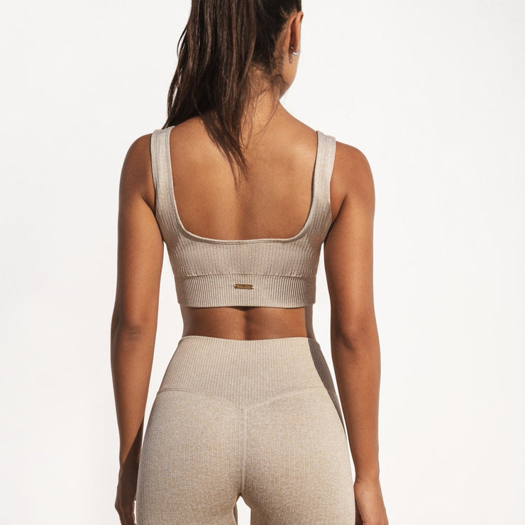 Ribbed Sports Bra Sand