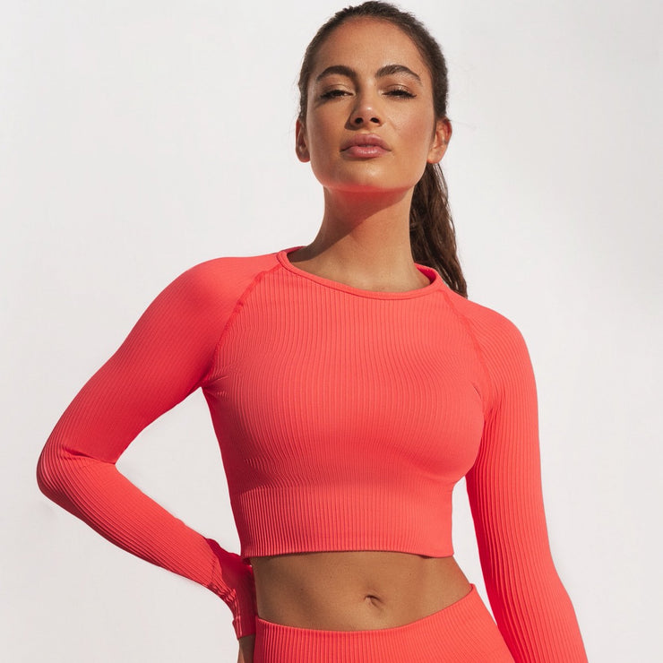 Ribbed Crop Top Long Sleeve Neon Peach