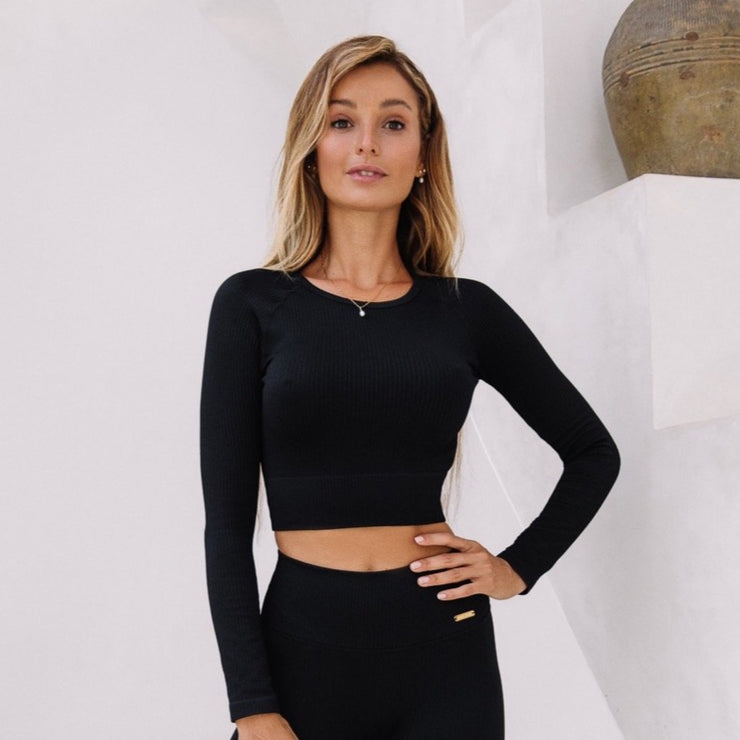 Ribbed Crop Top Long Sleeve Black