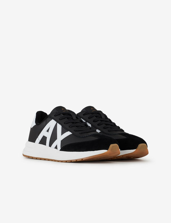 Armani Exchange black leather sneakers