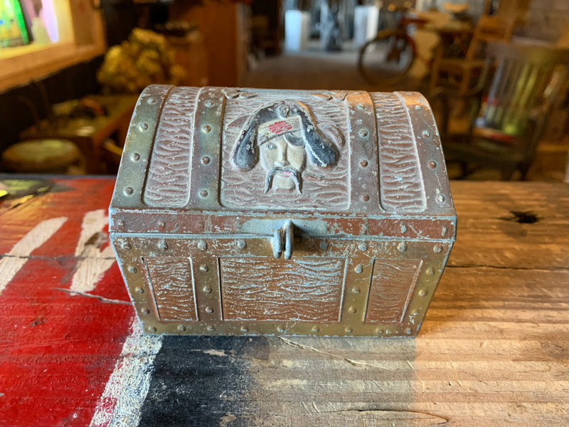 Vintage E.T. Kahn Co. Pirate Skull Treasure Chest Coin Bank