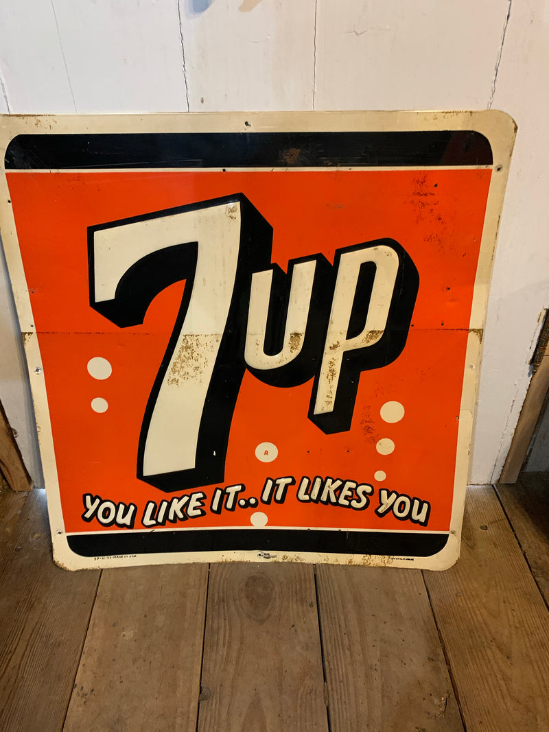 Rare Vintage Soda 1951 Metal 7up Advertising Sign